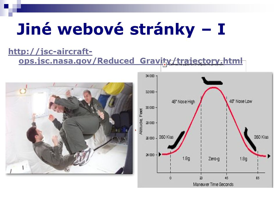 Jiné webové stránky – I http://jsc-aircraft-ops.jsc.nasa.gov/Reduced_Gravity/trajectory.html
