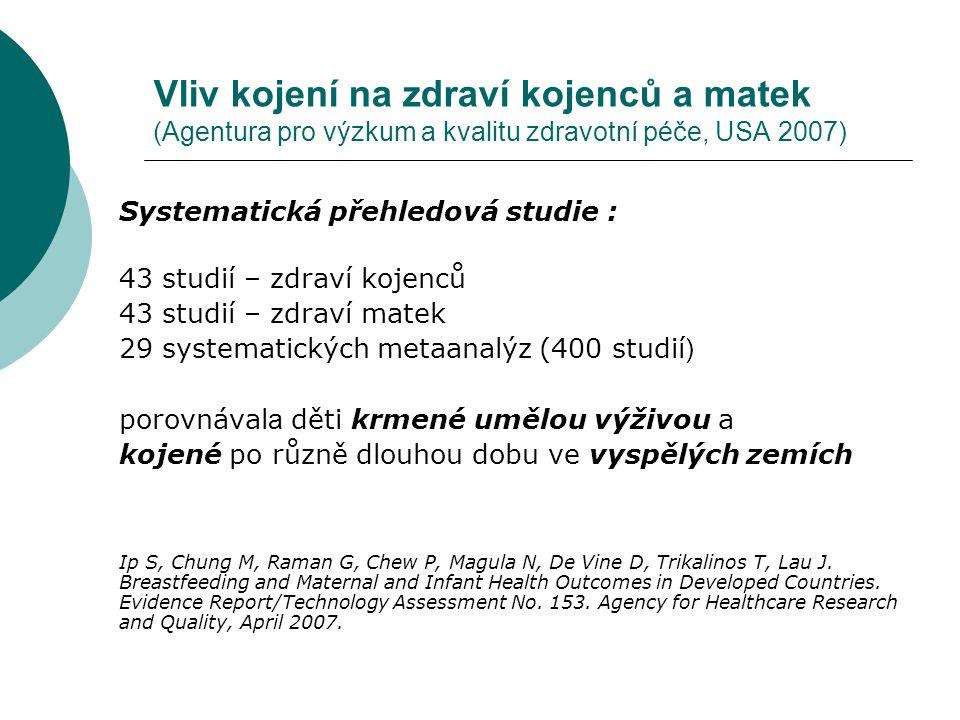 Vliv kojení na zdraví kojenců a matek (Agentura pro výzkum a kvalitu zdravotní péče, USA 2007)
