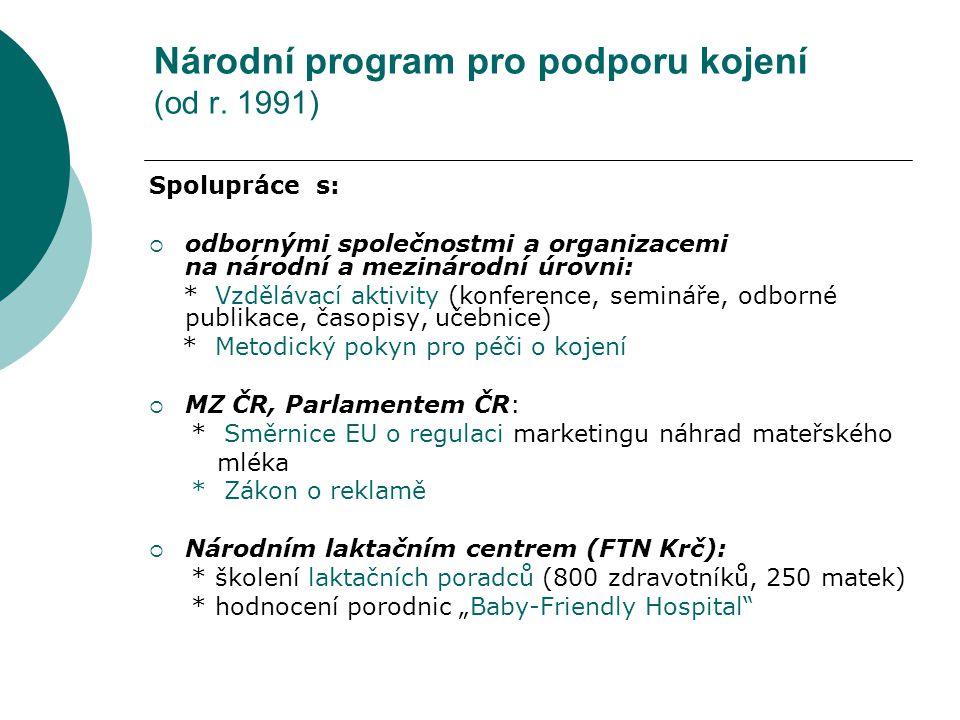 Národní program pro podporu kojení (od r. 1991)
