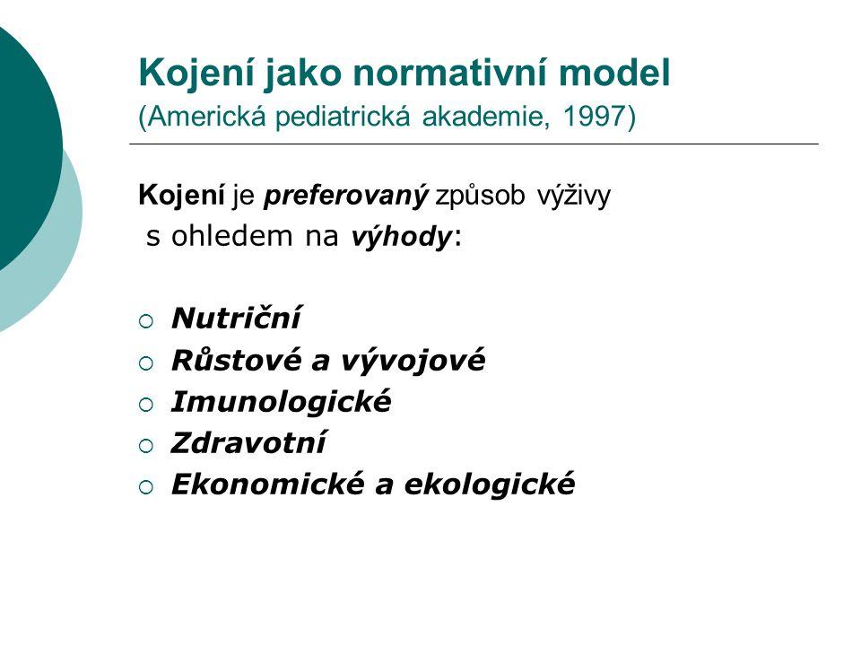 Kojení jako normativní model (Americká pediatrická akademie, 1997)