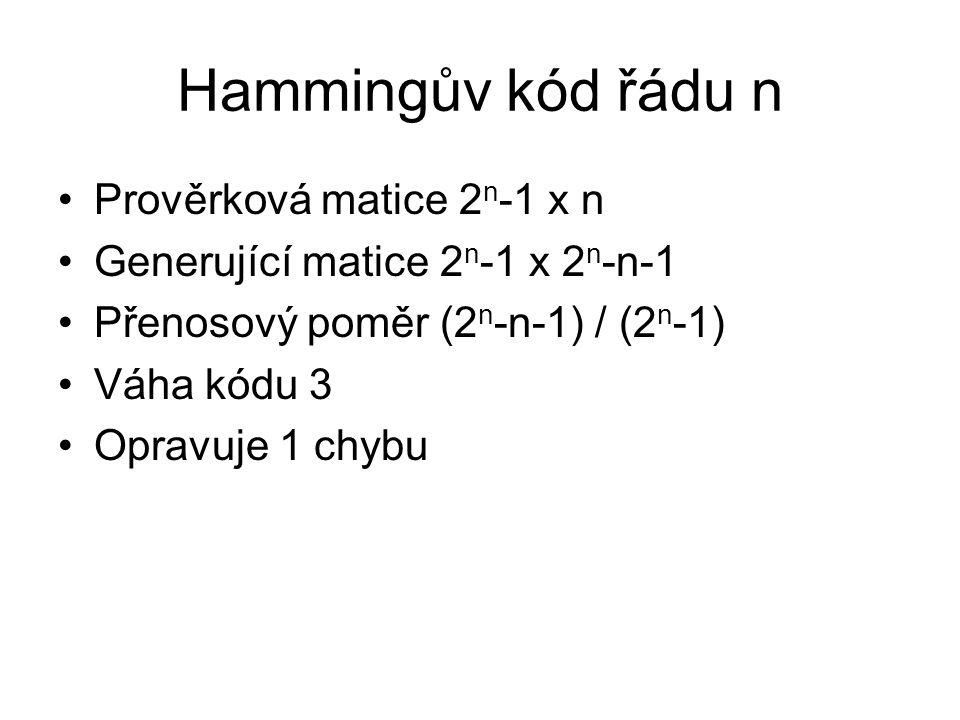 Hammingův kód řádu n Prověrková matice 2n-1 x n