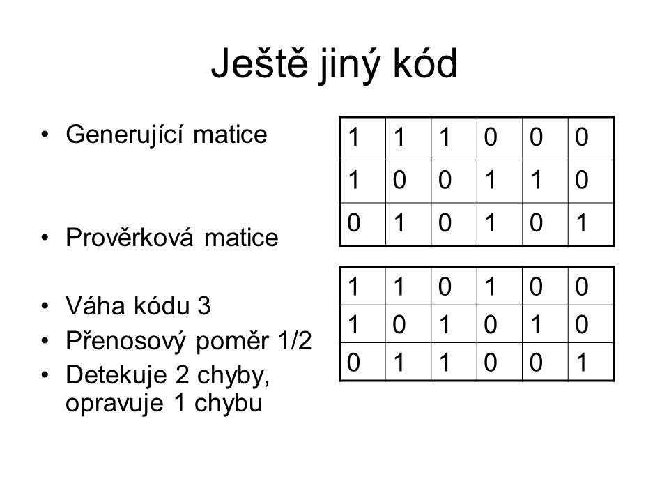 Ještě jiný kód 1 Generující matice 1 Prověrková matice Váha kódu 3