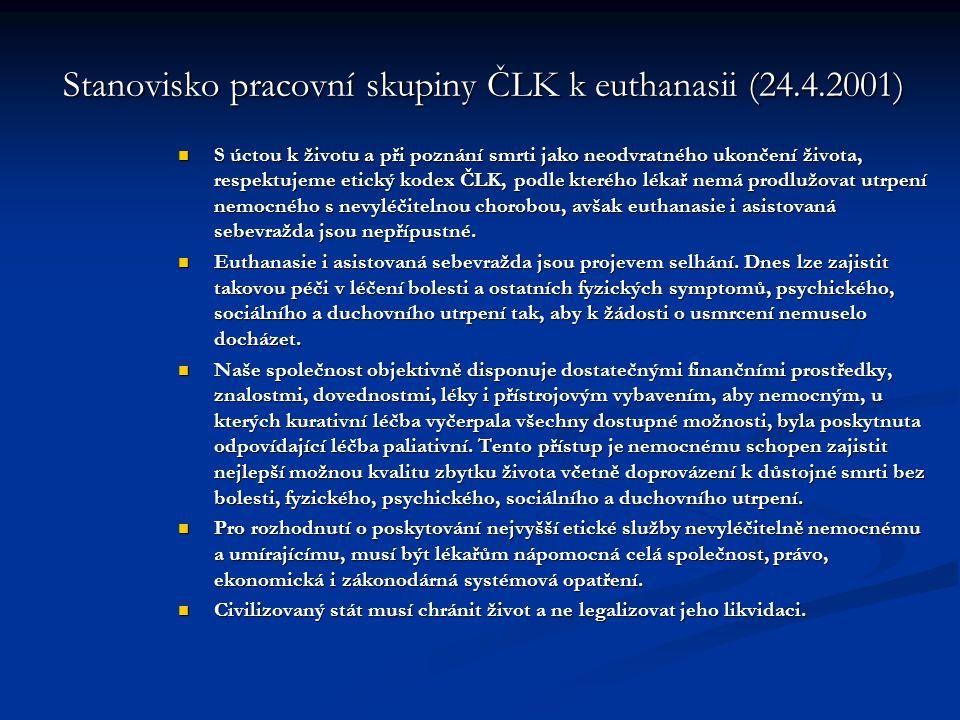 Stanovisko pracovní skupiny ČLK k euthanasii (24.4.2001)
