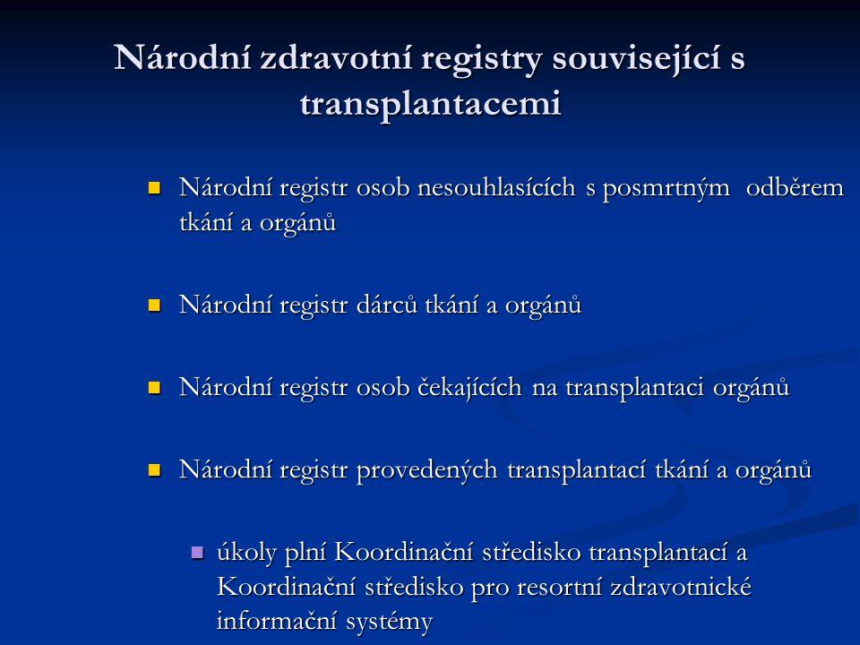 Národní zdravotní registry související s transplantacemi