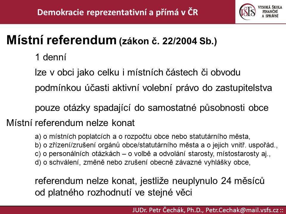 Demokracie reprezentativní a přímá v ČR