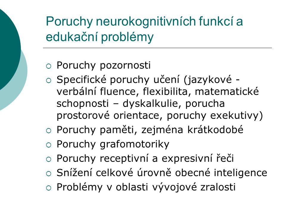 Poruchy neurokognitivních funkcí a edukační problémy