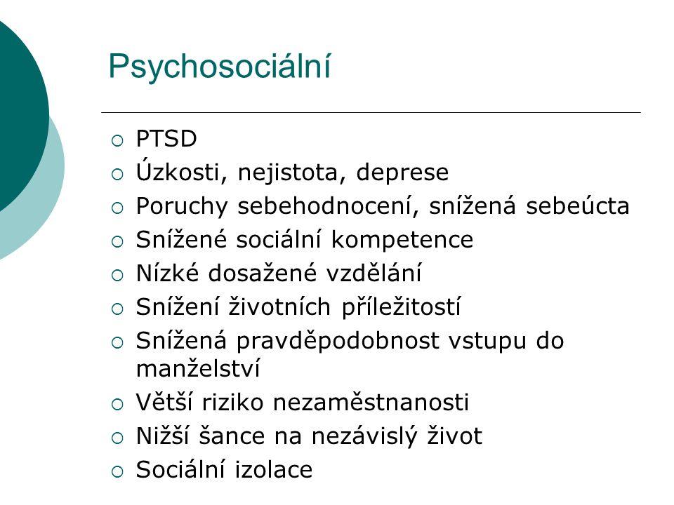 Psychosociální PTSD Úzkosti, nejistota, deprese
