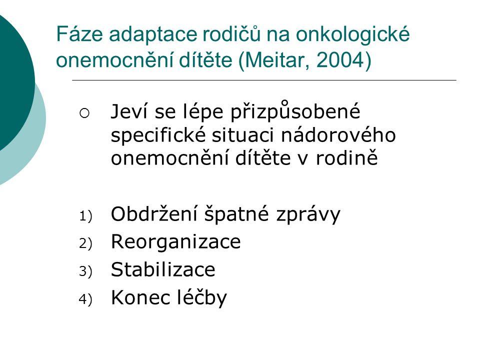 Fáze adaptace rodičů na onkologické onemocnění dítěte (Meitar, 2004)