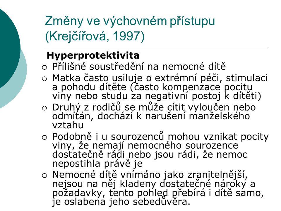 Změny ve výchovném přístupu (Krejčířová, 1997)
