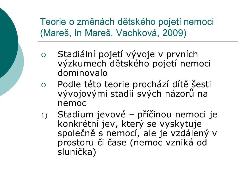 Teorie o změnách dětského pojetí nemoci (Mareš, In Mareš, Vachková, 2009)