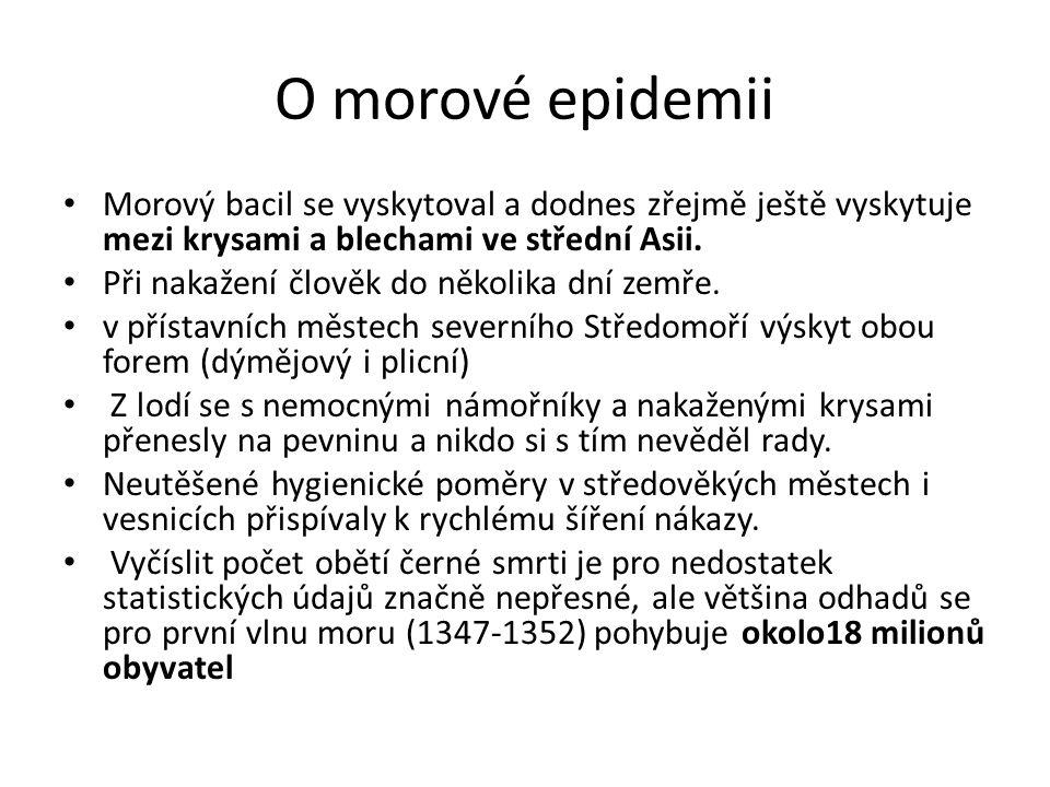 O morové epidemii Morový bacil se vyskytoval a dodnes zřejmě ještě vyskytuje mezi krysami a blechami ve střední Asii.