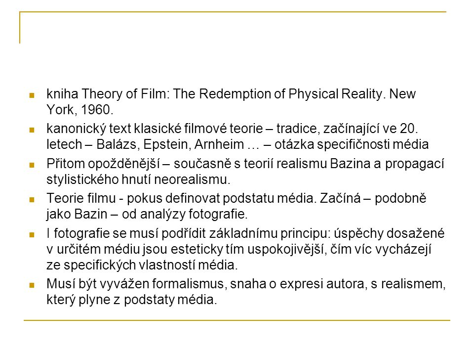 kniha Theory of Film: The Redemption of Physical Reality