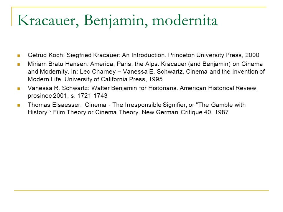 Kracauer, Benjamin, modernita