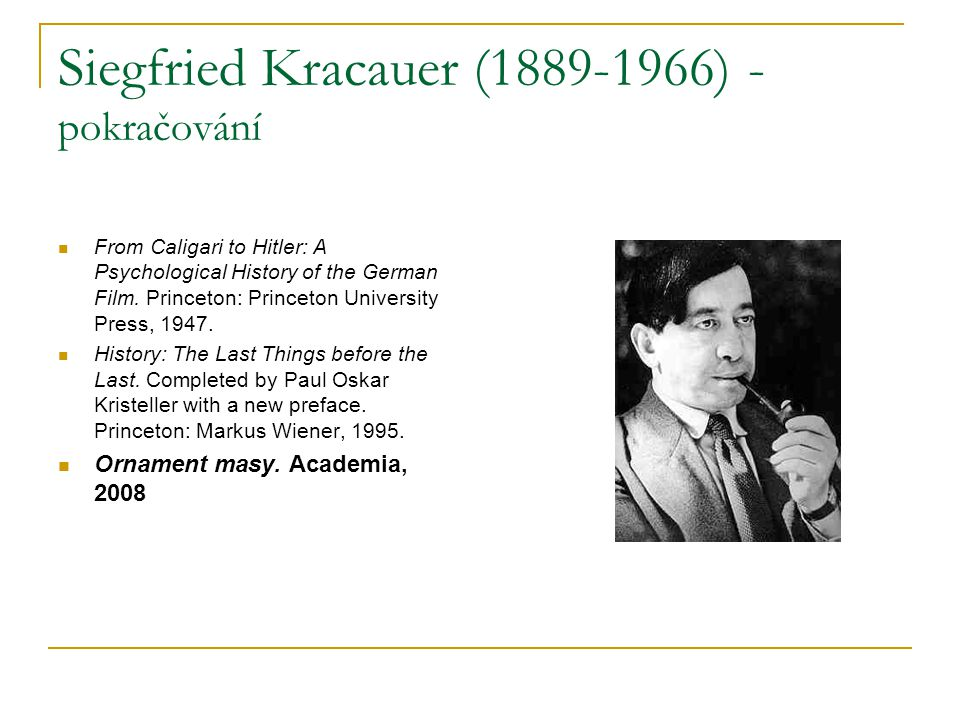 Siegfried Kracauer (1889-1966) - pokračování