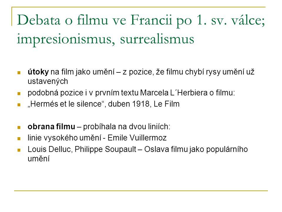 Debata o filmu ve Francii po 1. sv. válce; impresionismus, surrealismus