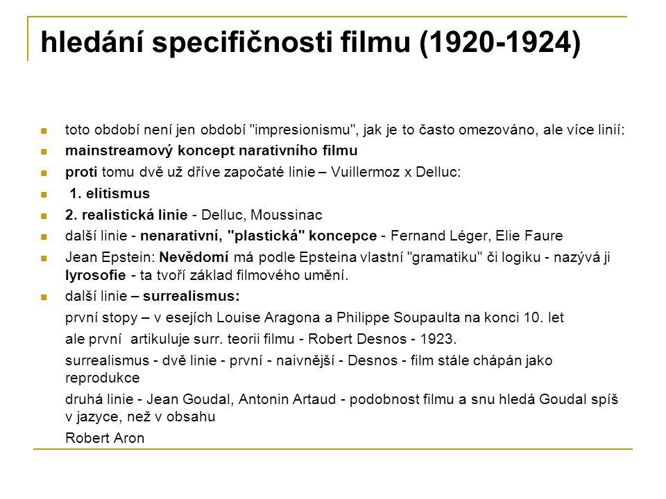 hledání specifičnosti filmu (1920-1924)