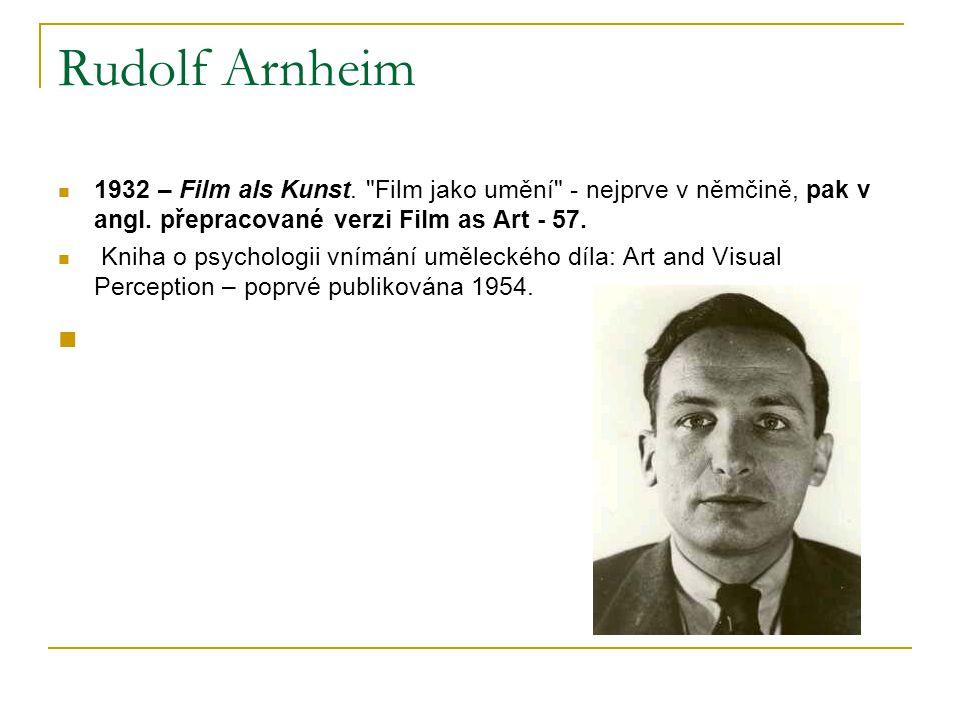 Rudolf Arnheim 1932 – Film als Kunst. Film jako umění - nejprve v němčině, pak v angl. přepracované verzi Film as Art - 57.