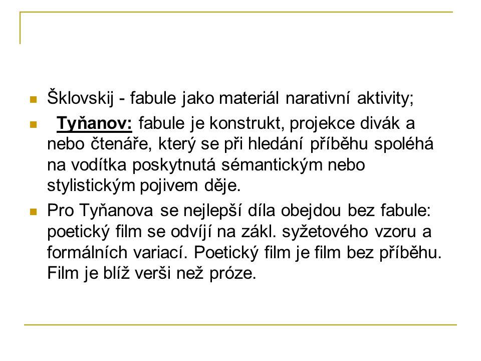 Šklovskij - fabule jako materiál narativní aktivity;