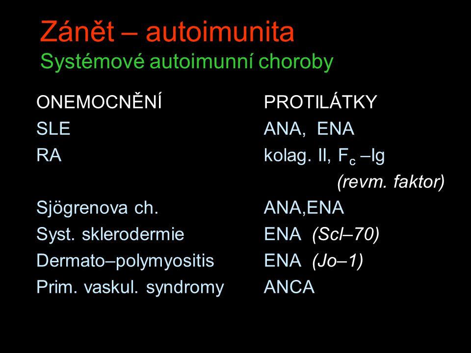 Zánět – autoimunita Systémové autoimunní choroby