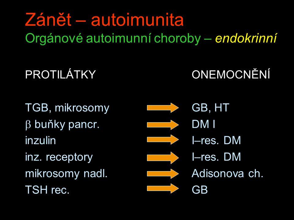 Zánět – autoimunita Orgánové autoimunní choroby – endokrinní