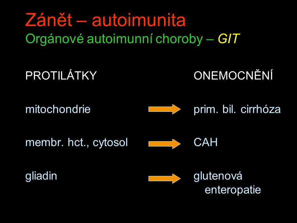 Zánět – autoimunita Orgánové autoimunní choroby – GIT