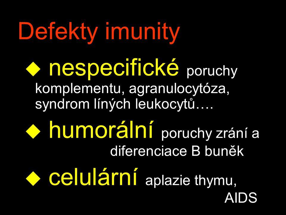 Defekty imunity nespecifické poruchy komplementu, agranulocytóza, syndrom líných leukocytů…. humorální poruchy zrání a diferenciace B buněk.