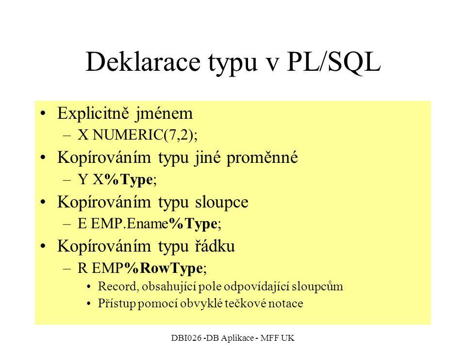 Deklarace typu v PL/SQL