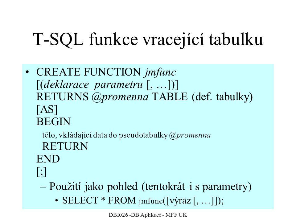 T-SQL funkce vracející tabulku