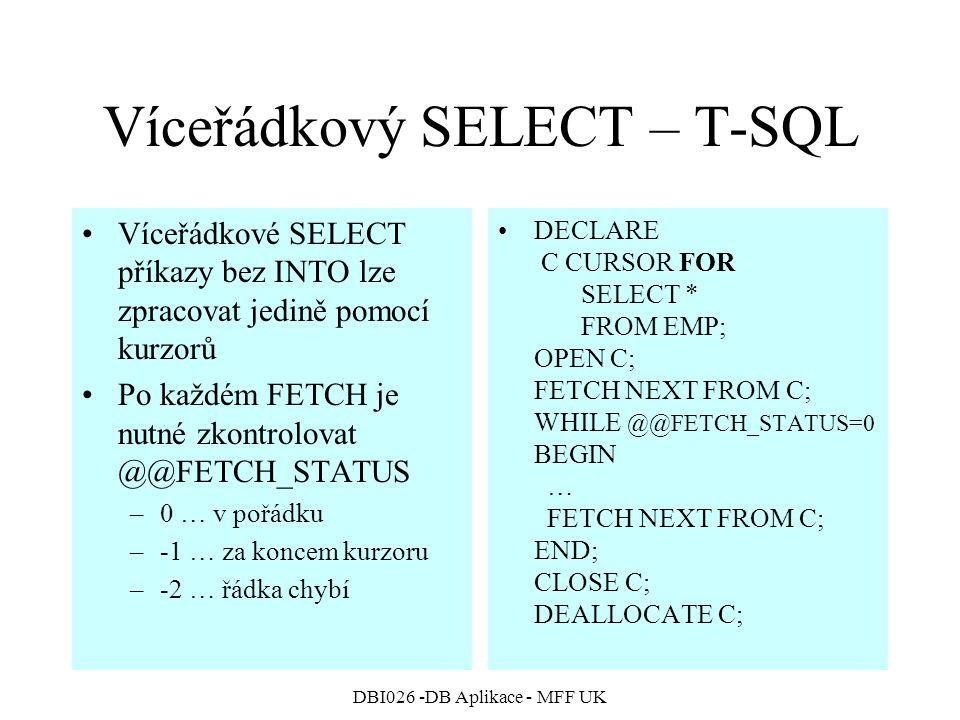 Víceřádkový SELECT – T-SQL