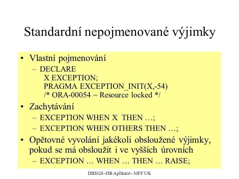 Standardní nepojmenované výjimky