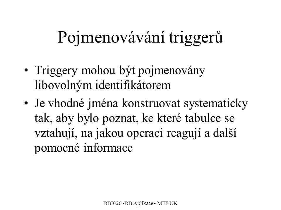 Pojmenovávání triggerů