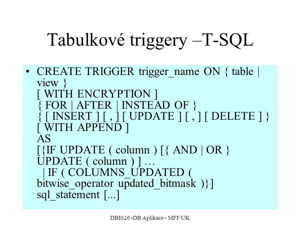 Tabulkové triggery –T-SQL