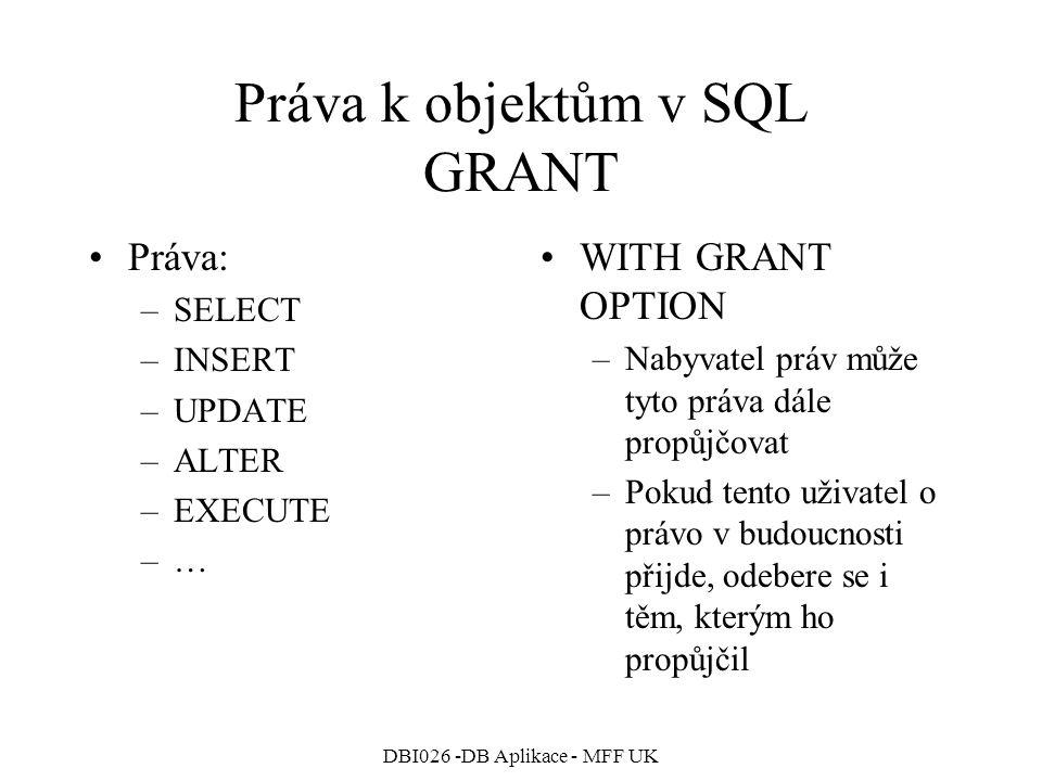 Práva k objektům v SQL GRANT