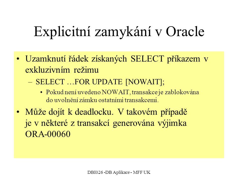 Explicitní zamykání v Oracle
