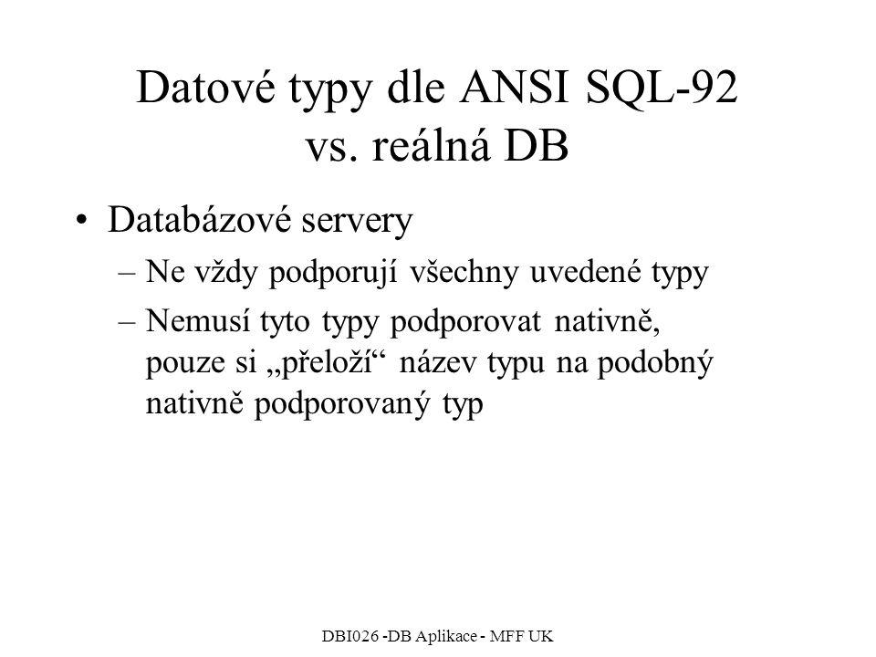 Datové typy dle ANSI SQL-92 vs. reálná DB