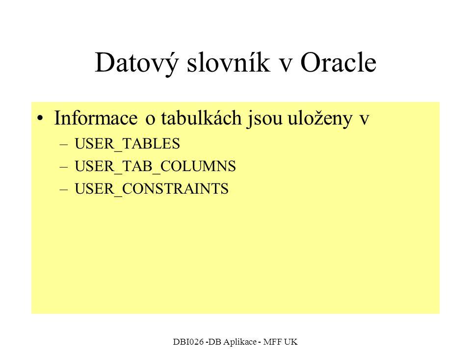 Datový slovník v Oracle