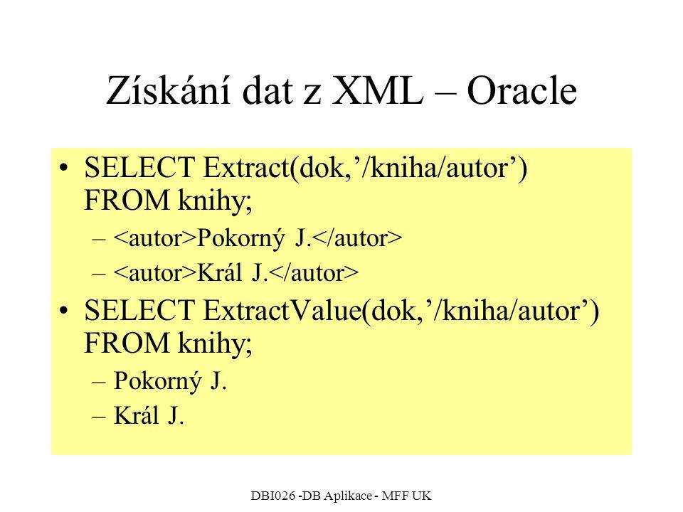Získání dat z XML – Oracle
