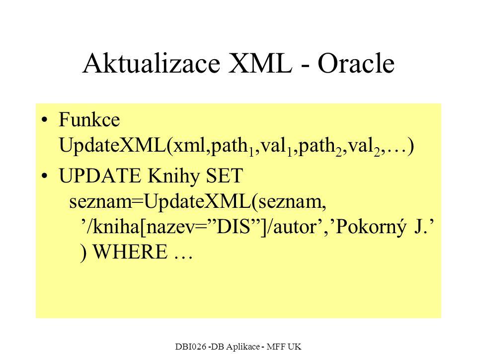 Aktualizace XML - Oracle