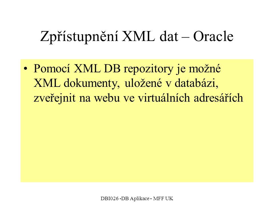 Zpřístupnění XML dat – Oracle
