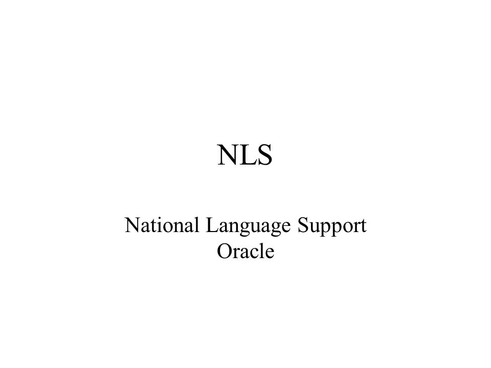 National Language Support Oracle