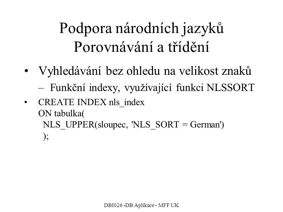 Podpora národních jazyků Porovnávání a třídění