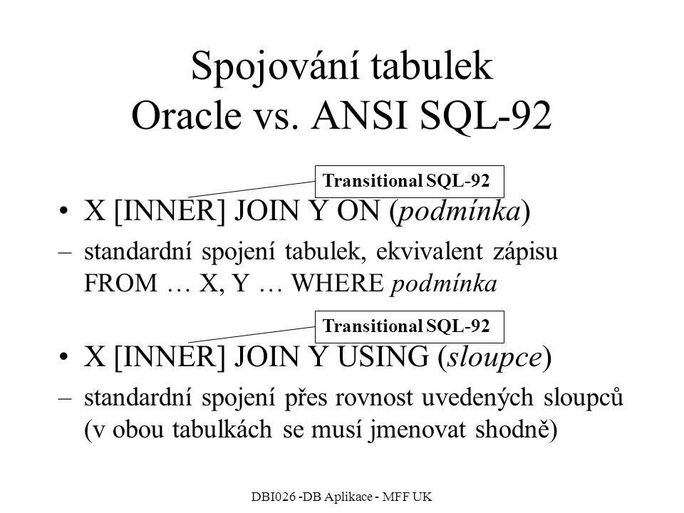 Spojování tabulek Oracle vs. ANSI SQL-92