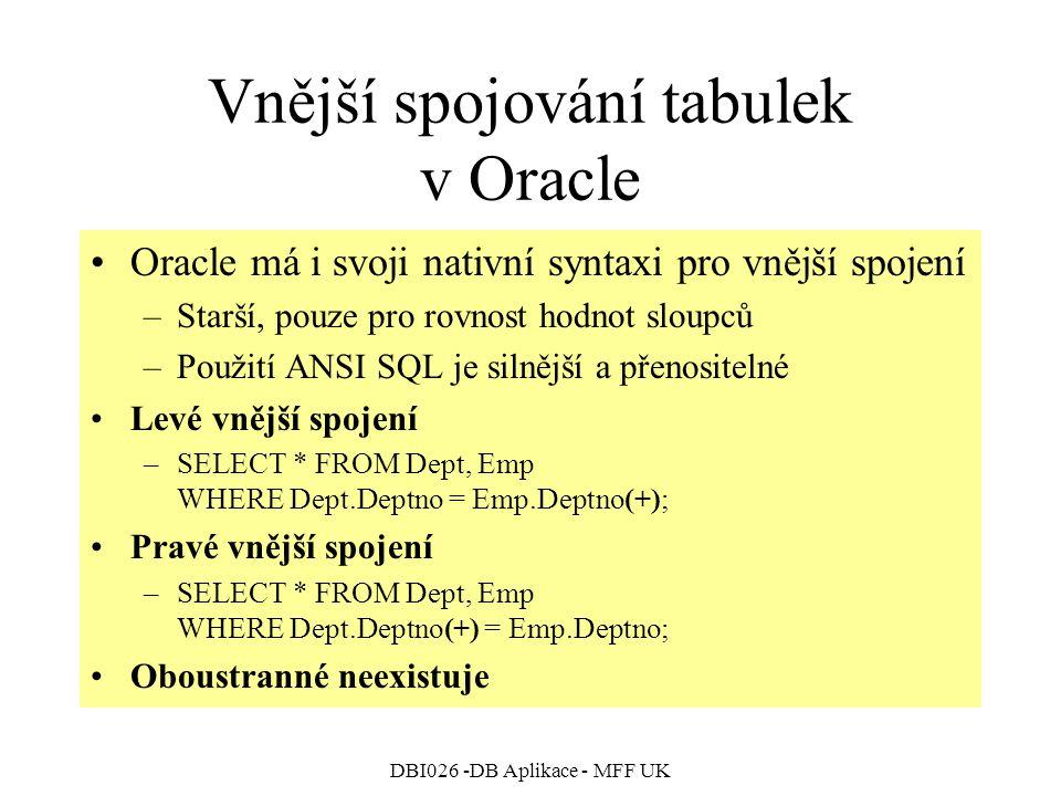 Vnější spojování tabulek v Oracle