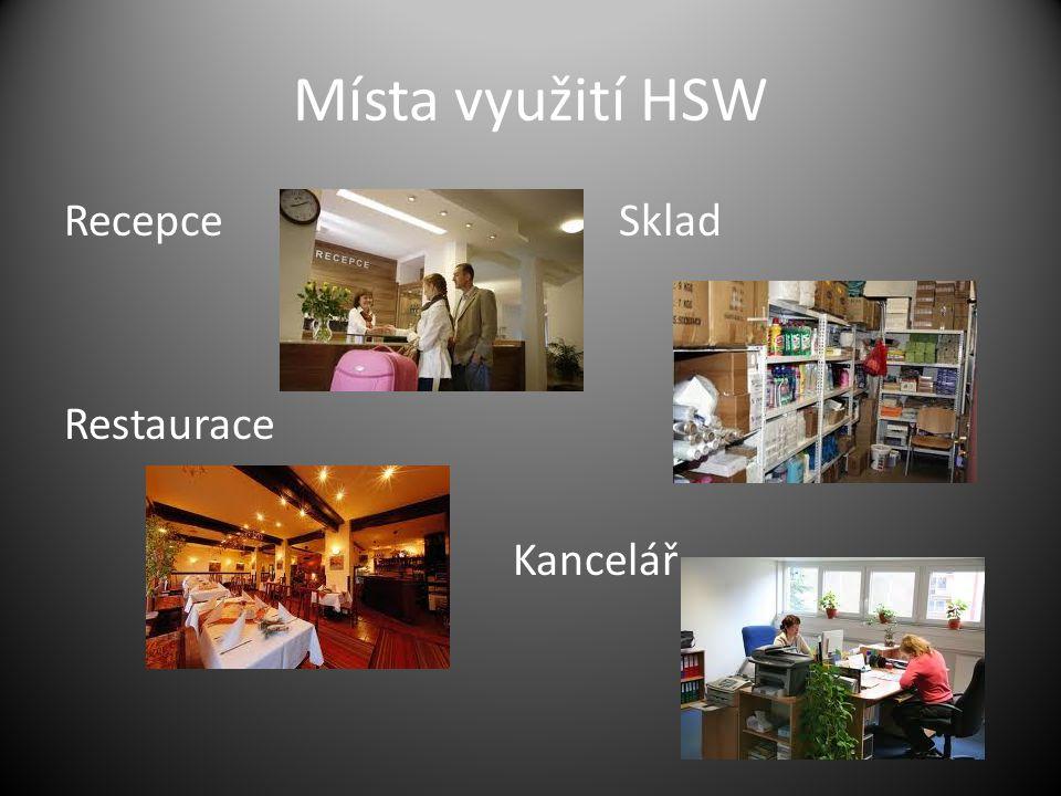 Místa využití HSW Recepce Sklad Restaurace Kancelář
