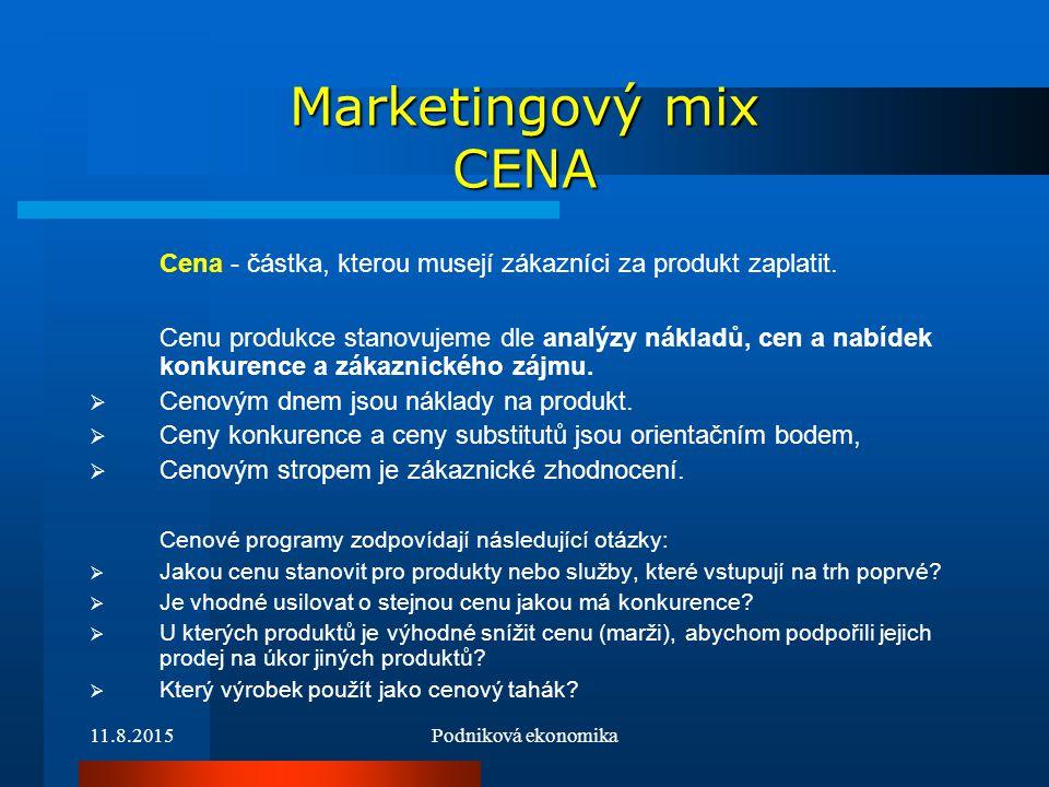 Marketingový mix CENA Cena - částka, kterou musejí zákazníci za produkt zaplatit.