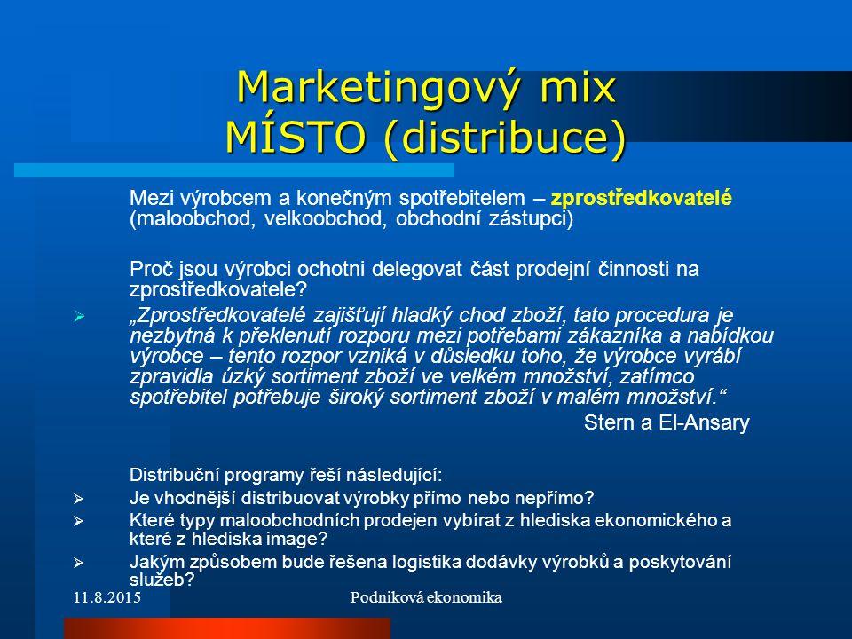 Marketingový mix MÍSTO (distribuce)