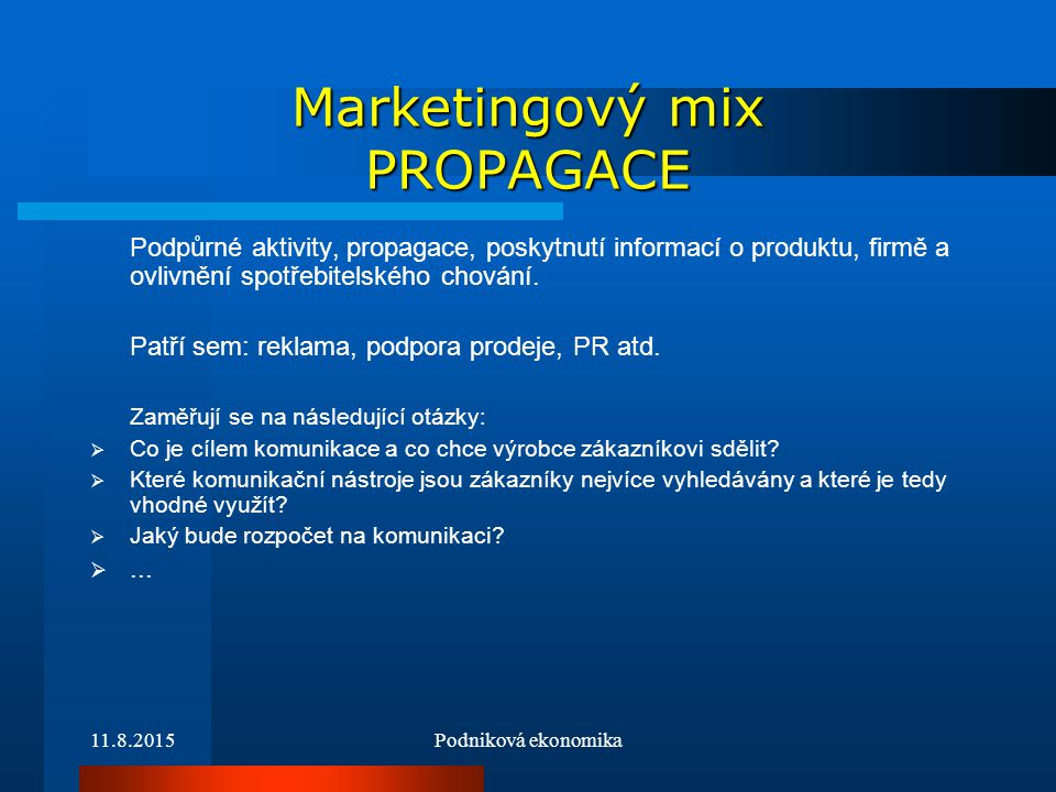 Marketingový mix PROPAGACE