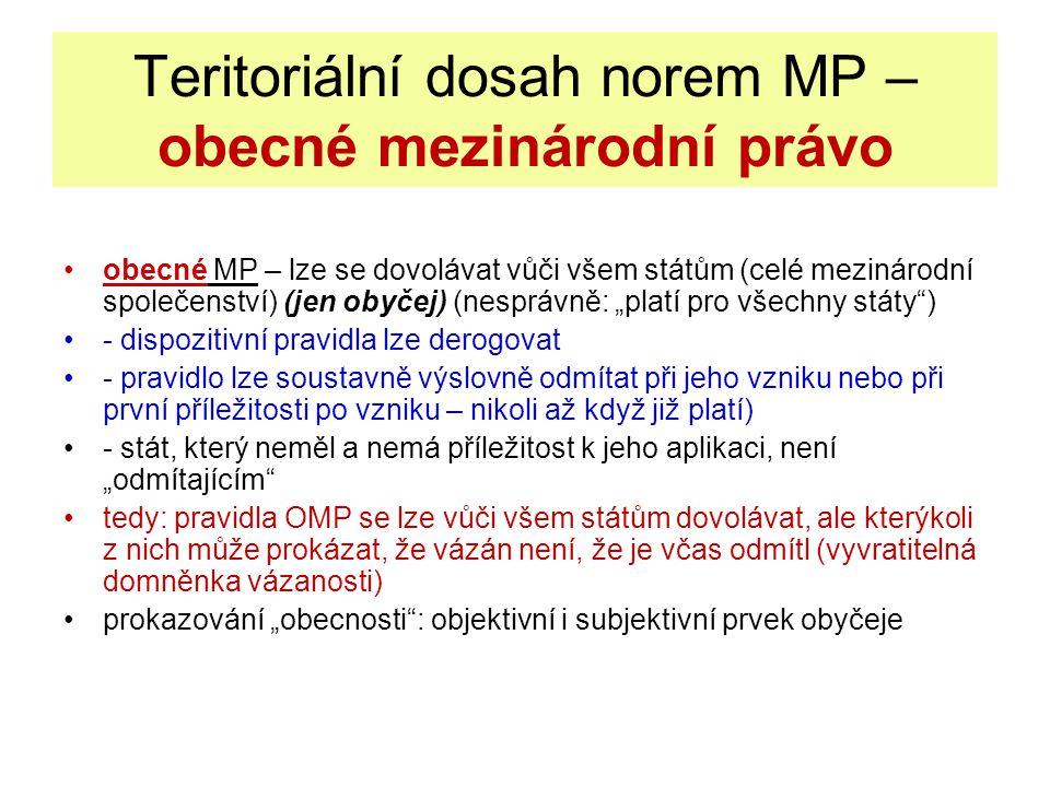 Teritoriální dosah norem MP – obecné mezinárodní právo