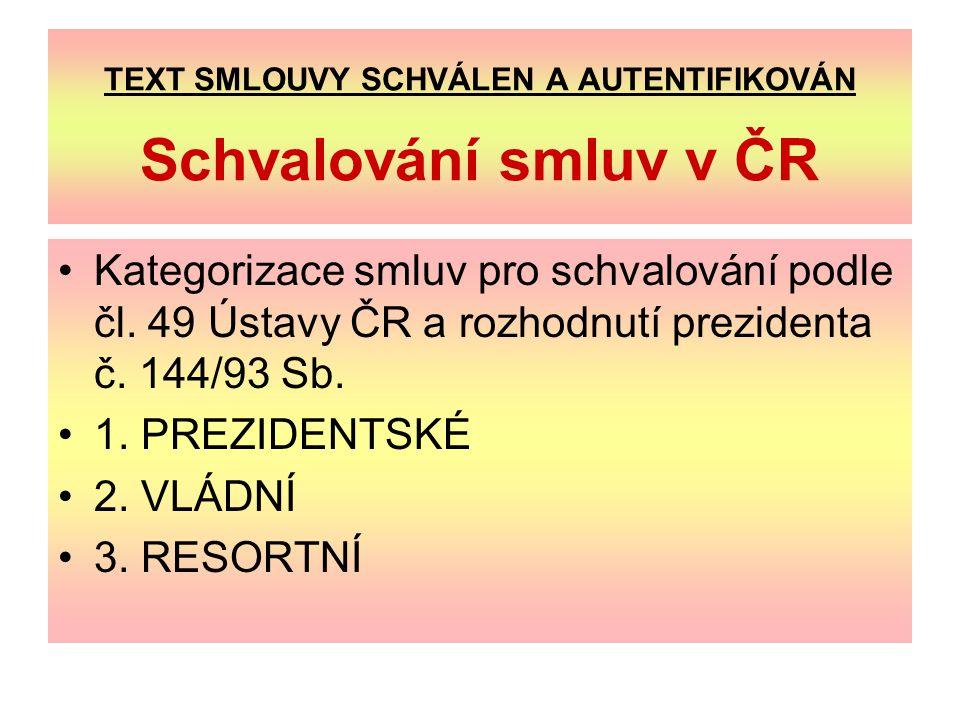 TEXT SMLOUVY SCHVÁLEN A AUTENTIFIKOVÁN Schvalování smluv v ČR