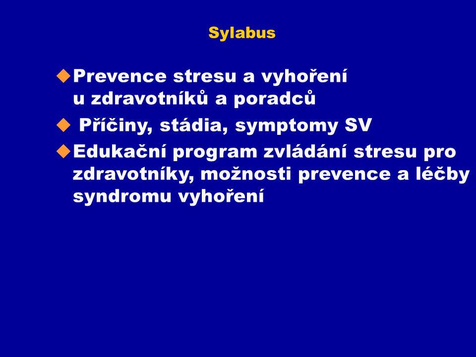 Prevence stresu a vyhoření u zdravotníků a poradců